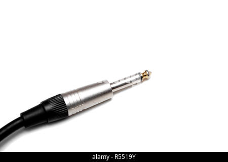 audio jack with black cable on white background. - Stock Photo