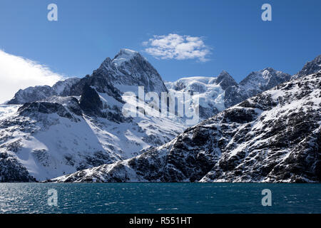 View of the spectacular Drygalski Fjord with snow covered mountains on South Georgia Island in the South Atlantic Island, Antarctica