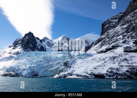 Blue colored glacier in Drygalski Fjord on South Georgia, Antarctica - Stock Photo