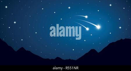 three falling stars starry sky in the mountains vector illustration EPS10 - Stock Photo