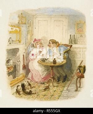 """Mr. Bumble and Mrs. Corney taking tea. This sketch is intended as a sort of title page to the twenty-five water colour drawings, etc. 1894. Twenty-six plates. Proofs in colour of the illustrations used in the Chapman & Hall 1895 edition of """"Oliver Twist"""" MS. inscription by Joseph Grego. Source: Dex.297.(2) plate 12. Author: DICKENS, CHARLES. CRUIKSHANK, GEORGE. - Stock Photo"""
