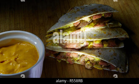 Fresh hot perfectly made mexican quesadilla delicious international food. - Stock Photo