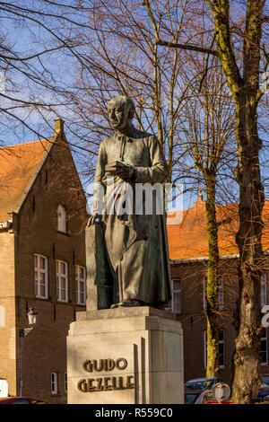 Bruges, Belgium - 17 February 2018: The statue of Guido Gezelle at Bruges - Stock Photo