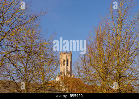 Bruges, Belgium - 17 February 2018: The belfry tower at Bruges - Stock Photo