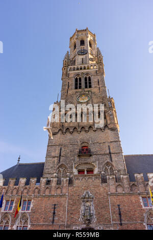 Bruges, Belgium - 17 February 2018: The belfry tower in Bruges - Stock Photo