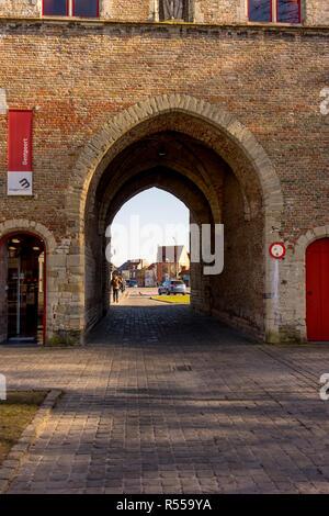 Bruges, Belgium - 17 February 2018:  the Gentpoort in Brugge/Bruges Belgium - Stock Photo