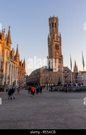 Bruges, Belgium - 17 February 2018: a group of people walking in Belfry of Bruges, Belgium - Stock Photo