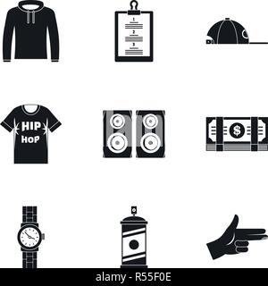 Gangsta rap icon set. Simple set of 9 gangsta rap vector icons for web design on white background - Stock Photo