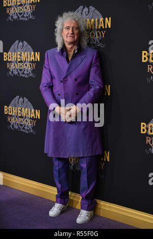 Brian May attends 'Bohemian Rhapsody' New York premiere at The Paris Theatre on October 30, 2018 in New York City. - Stock Photo