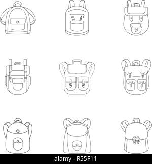 Preschool backpack icon set. Outline set of 9 preschool backpack vector icons for web design isolated on white background - Stock Photo