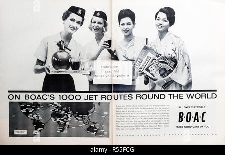 1960s double page spread magazine advertisement for BOAC. - Stock Photo