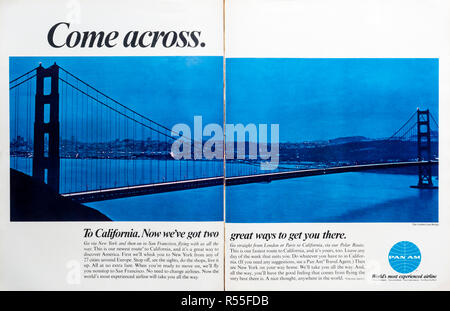 1960s double page spread magazine advertisement for Pan Am flights to California. - Stock Photo