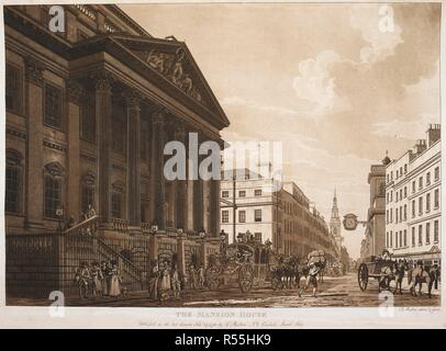 A view from outside the Mansion House looking west along Cheapside; the Lord Mayor's coach nearby; figures, horses and carts in the street. THE MANSION HOUSE. [London] : Publish'd as the act directs Feby 27, 1783 by T. Malton No8 Carlisle Street, Soho., [February 27 1783]. Aquatint and etching. Source: Maps K.Top.24.14.h. Language: English. Author: MALTON, THOMAS. - Stock Photo