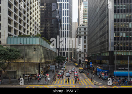 Hong Kong Central cityscape with luxury shops and skyscrapers. Hong Kong, January 2018 - Stock Photo
