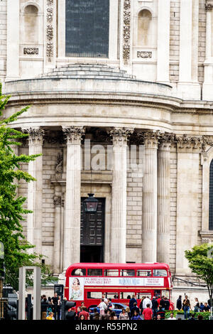 London England United Kingdom Great Britain City of Peter's Hill view of St Paul's Cathedral exterior outside south transept semicircular portico Cori - Stock Photo