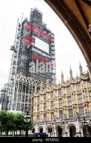 London England United Kingdom Great Britain Palace of Westminster Parliament exterior Big Ben tower scaffolding restoration preservation construction - Stock Photo