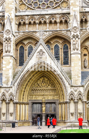 London England United Kingdom Great Britain Westminster Abbey Gothic Church Protestant exterior north entrance - Stock Photo