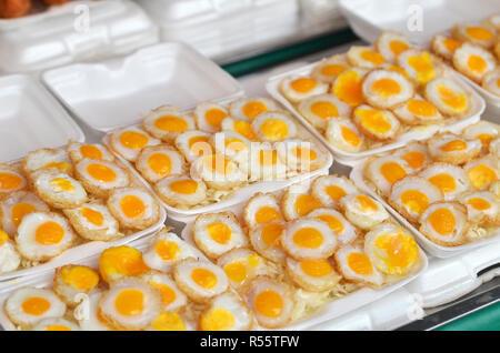 Selling Fried quail egg - Stock Photo