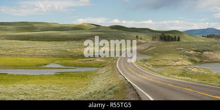 Road Crosses Over Elk Antler Creek Yellowstone NP - Stock Photo