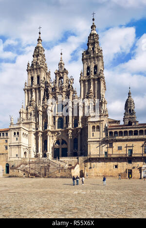 Santiago de Compostela Cathedral with the new restored facade from Obradoiro square. Cathedral of Saint James, Spain. Galicia, pilgrimage. - Stock Photo