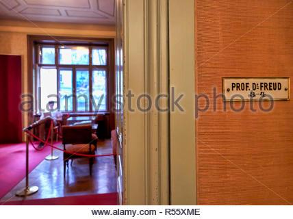 Professor Doctor Freud House Studio in Vienna Austria - Stock Photo