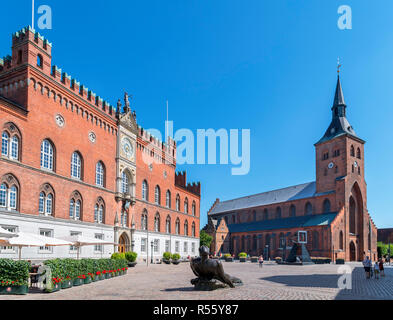 City Hall (Rådhus) and St Canute's Cathedral (Sankt Knuds Kirke) from Flakhaven, Odense, Denmark - Stock Photo