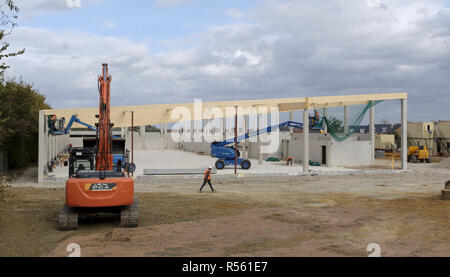 Buckingham, UK - August 19, 2018. Building site of a new Lidl supermarket under construction in Buckingham, UK. The company aims to have 1000 stores a - Stock Photo