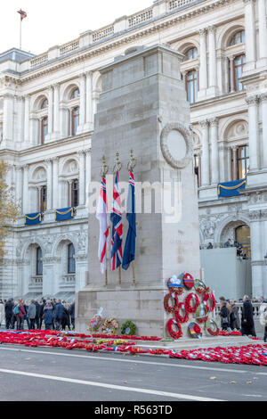 LONDON, UK - NOVEMBER 11 2018: The Cenotaph in Whitehall, London, England, UK. The Cenotaph is the focus of Remembrance Day commemorations on 11 Nov - Stock Photo