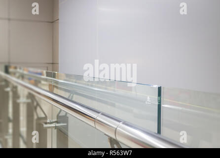 Indoor Glass Wall With Aluminium Handrail - Stock Photo