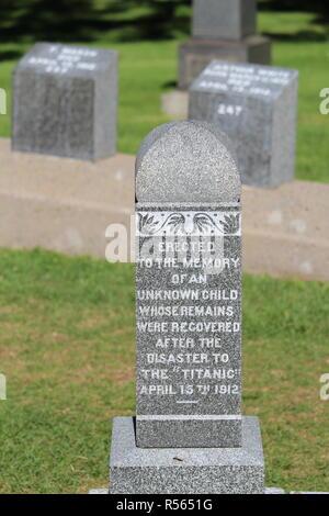 Sépulture des victimes du naufrage du titanic à Halifax  Canada / Burial of victims of the sinking of titanic in Halifax Canada - Stock Photo