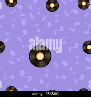 Vynil Records and Musical Notes Seamless Pattern - Stock Photo