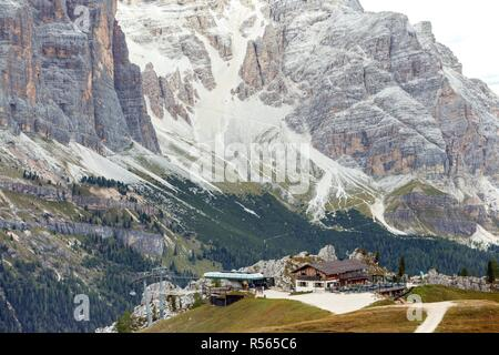 Beautiful mountain landscape around the Cinque Torri. View on Refuge. Dolomites, Italy - Stock Photo