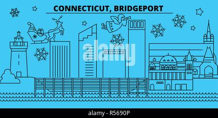 United States, Bridgeport winter holidays skyline. Merry Christmas, Happy New Year decorated banner with Santa Claus.United States, Bridgeport linear christmas city vector flat illustration - Stock Photo