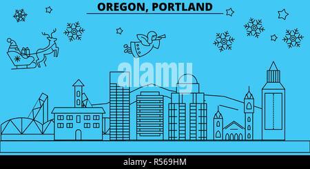 United States, Portland oregon winter holidays skyline. Merry Christmas, Happy New Year  with Santa Claus.United States, Portland oregon linear christmas city vector flat illustration - Stock Photo
