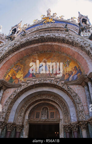 Close-up of the beautiful mosaic of 'The Last Judgement' above the main entrance to the Basilica di San Marco, Venice, Italy