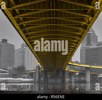 View from under the Fort Pitt Bridge in Pittsburgh Pa - Stock Photo