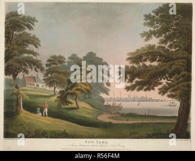 Two men talk under the trees near the waterfront at Hoboken, with a ferry house and a wharf in the background, the Hudson River on the right and New York seen in the distance beyond. NEW YORK : From HOBUCK FERRY HOUSE New Jersey. [London and New York] : Pub.d March 31.st 1800 by F. Jukes No. 10 Howland Street and by Al. Robertson, Columbian Academy Liberty Street New York, [March 31 1800]. Hand-coloured aquatint, etching and engraving. Source: Maps K.Top.121.38.e. Language: English. - Stock Photo
