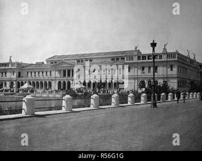 Building at the territory of the World Exposition 1893, the womens palace, historical monochrome photography, Chicago, USA - Stock Photo