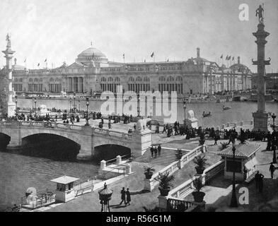 Building at the territory of the World Exposition 1893, the agricultural building, historical monochrome photography, Chicago - Stock Photo