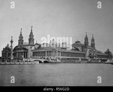 Building at the territory of the World Exposition 1893, the machine room, historical monochrome photography, Chicago, USA - Stock Photo
