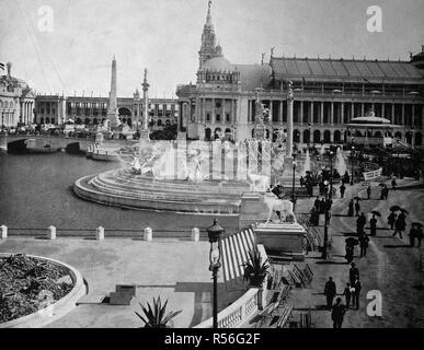 Building at the territory of the World Exposition 1893, historical monochrome photography, Chicago, USA - Stock Photo