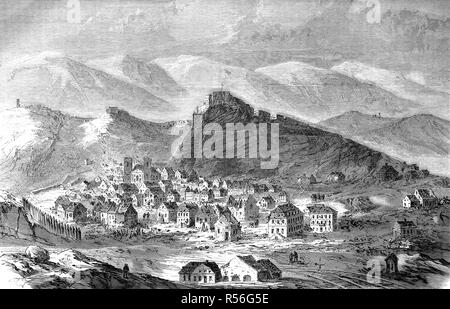 Destroyed city of Belfort and fortress after the surrender on 18 Ferbruary 1871, Franco-German War 1870/71, woodcut, France - Stock Photo