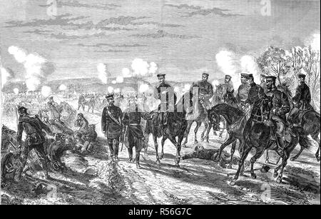 Battle at Nuits on January 18th, Franco-German War 1870/71, woodcut, France