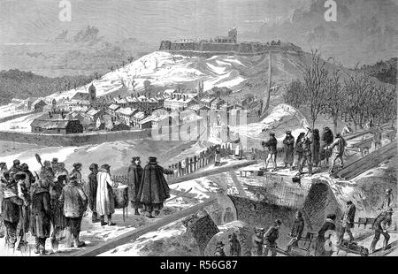 City and fortress of Montmedy on the day after the surrender, December 15, street scene, Franco-German War 1870/71, woodcut - Stock Photo
