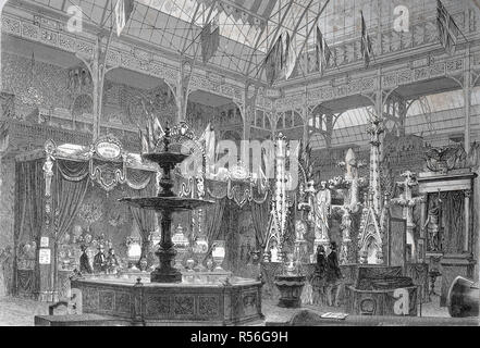 The international exposition 1867, Paris, the prussian exhibition hall, woodcut, France - Stock Photo