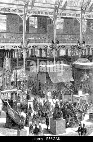 The international exposition 1855, Paris, France, industrial palace, part of the transept, woodcut, France - Stock Photo
