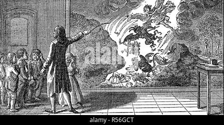 Teaching lesson 1799, a teacher shows children a painting representing the hellish pace, woodcut, Germany - Stock Photo