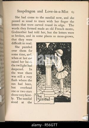 Illustration of young girl in a garden, standing on tiptoe to look at a sundial. Children's story. Godmother's Garden. Blackie & Son: London, England 1918. Godmother's Garden ... Illustrated ... by Florence Harrison. Blackie & Son: London, [1918.] SYRETT, Netta. ... Illustrated ... by Florence Harrison. Source: 12801.b.7 63. Language: English. - Stock Photo