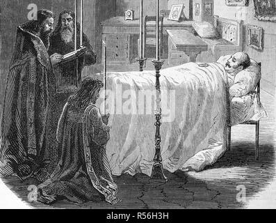 Nicholas I, 1796, 1855, Emperor of Russia, here on the deathbed, woodcut, Russia - Stock Photo
