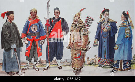 Clothing, fashion in China, around the 19th century, national costumes, from the left, an officer, then a soldier, then a - Stock Photo